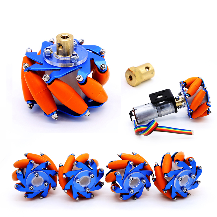 цена на Four Blue Mecanum Wheel 60mm Wheat Wheel Omni Wheel Coupling Mecanum Wheel with the Price
