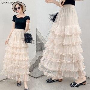Cute Ladies Skirts Spring Summer Elastic High Waisted Cake Layered Ruffle Tulle Skirt Women Long Mesh Skirts jupe tulle femme