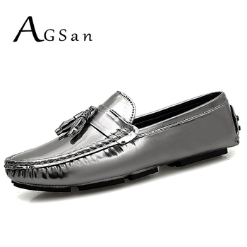 AGSan Men Loafers Big Size 39-48 Fashion Casual Loafers Silver Gold Camouflage Slip On Loafers Tassel Shoes Driving Moccasins фото