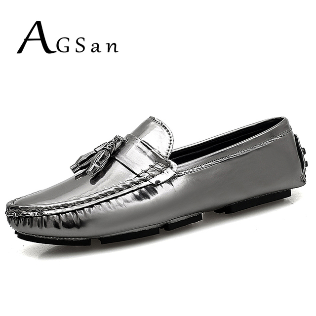 80787876e95f82 AGSan Men Loafers Big Size 39-48 Fashion Casual Loafers Silver Gold  Camouflage Slip On Loafers Tassel Shoes Driving Moccasins