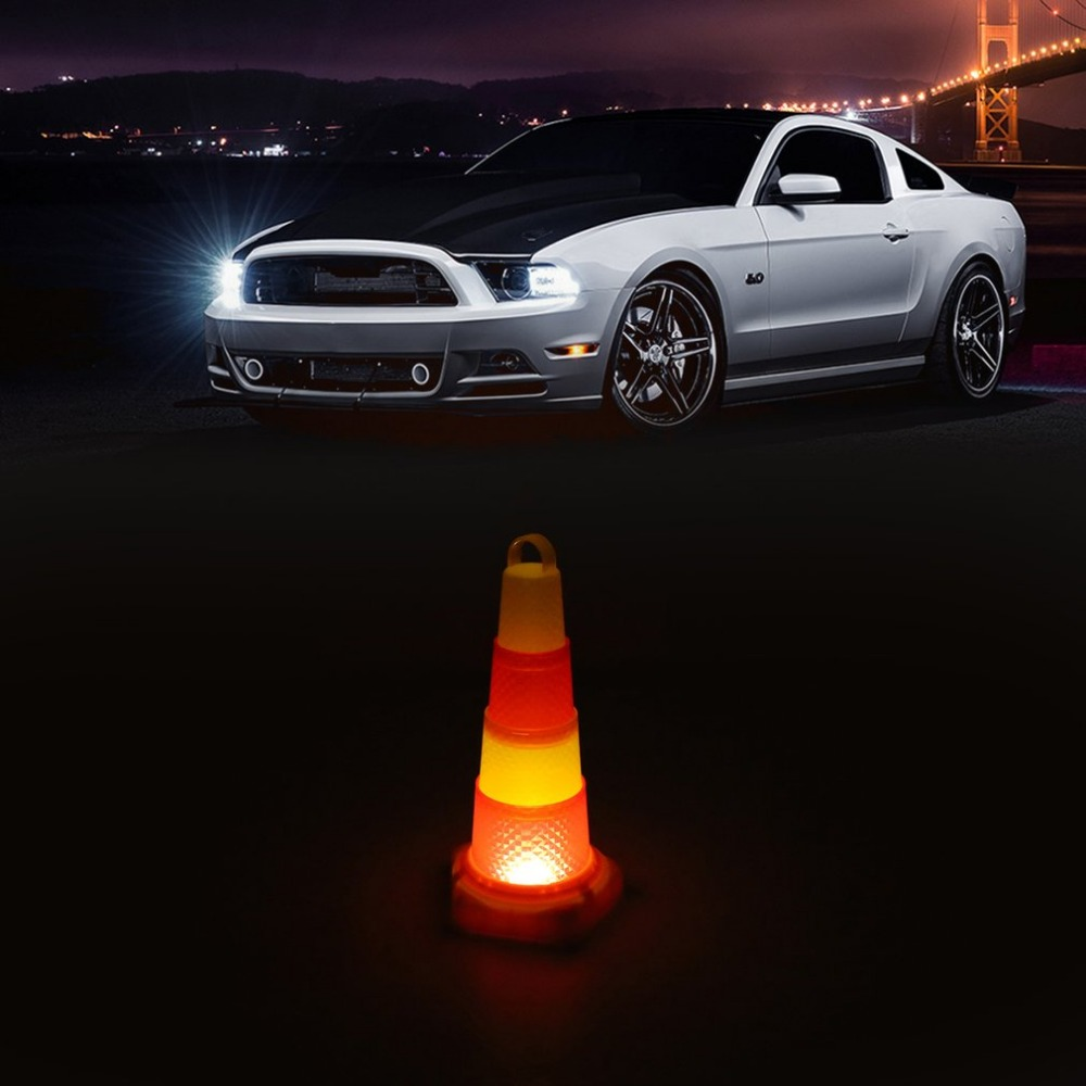 2018 Foldable Collapsible Orange & Red Flash LED Warning Light Road Safety Cone Traffic Pop Up Parking Multi Purpose