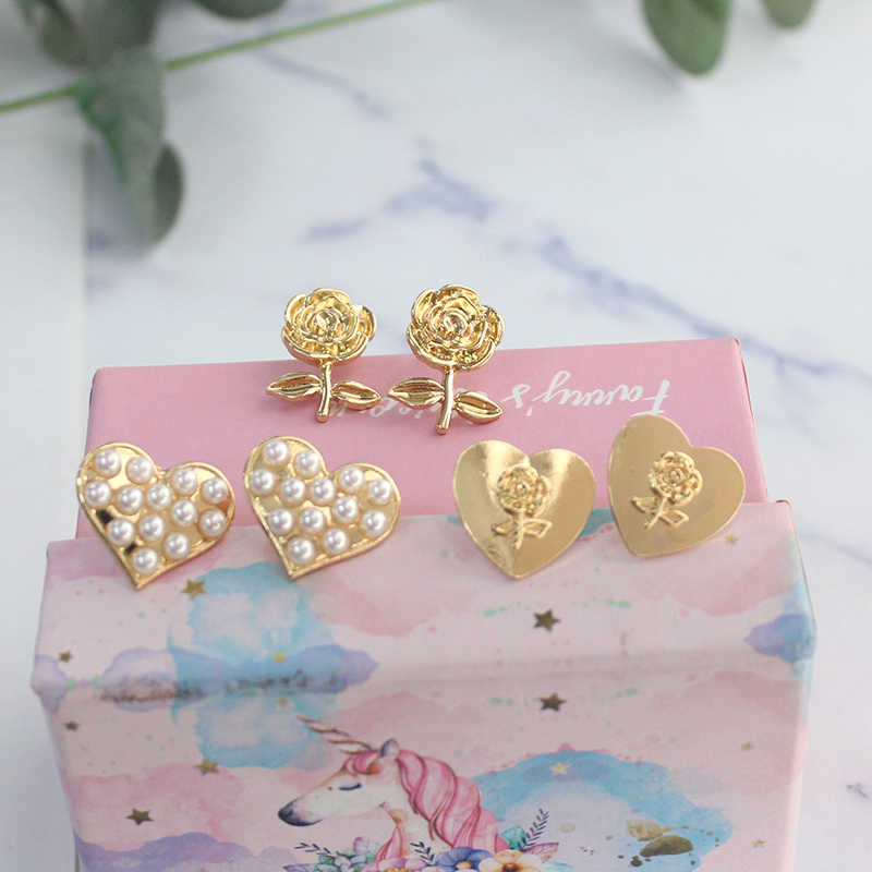 SANSUMMER Jewelry Sets Women's Clip & Stud Earrings Ring Simple Sweet Temperament Heart-shaped Pearl Rose Jewelry Sets 5311