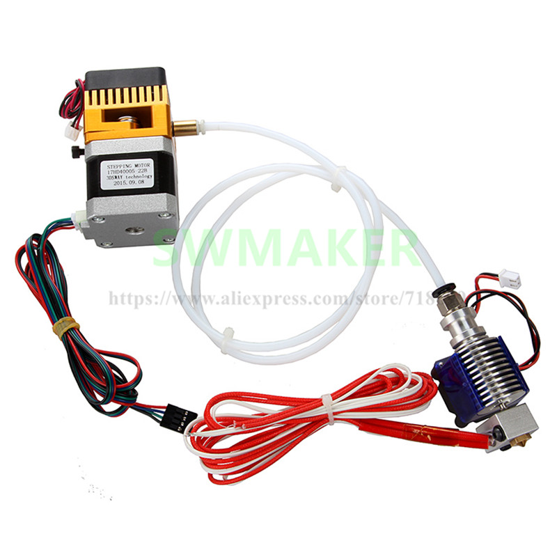 SWMAKER 3D printer accessories MK8 V6 remote head extruder suite kit 12V/24V , 0.4mm nozzle , with cooling fan ,1 meter tube 2017 new 3d printer extruder e 3d v6 bulldog xl extrusion system suite replace mk8 heating head j head e 3d v5 free shipping