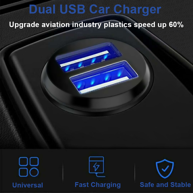 Black 5V 3.1A Led Display Dual Car Charger Charging 2 Ports Socket Adapter For Mobile Phone Charging For Samsung Xiaomi
