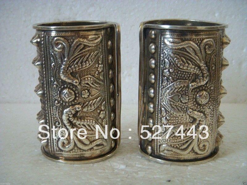 En gros Rapide gratuite Exquis Belle Tibet Argent Bracelet Manchette des Hommes
