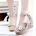 New Hot sale Summer wedges Pumps sandals female shoes women platform shoes lace belt bow Flip Flops open toe high-heeled shoes