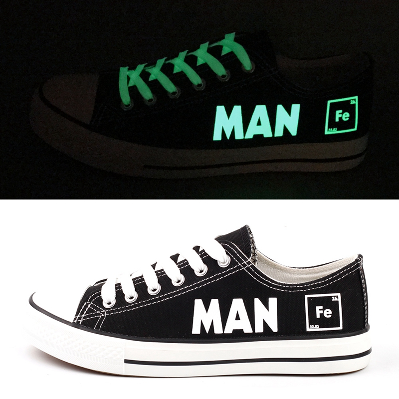E-LOV Luminous Men Boys Fashion Canvas Shoes Low Top Graffiti Printed Humorous Letters Lace-up Flat Shoes Chaussures Hommes
