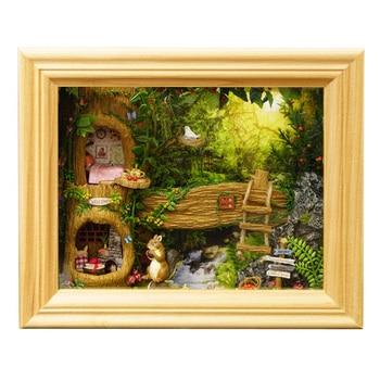 조립 diy 인형 집 장난감 나무 miniatura 인형 집 미니어처 인형 집 완구 어린이를위한 가구 키트 선물-갈색 프레임