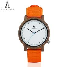 ALK Mens Reloj de madera de nogal Nueva moda 2018 Correa de lona Casual Reloj de pulsera deportivo simple dama relojes pareja dropshipping