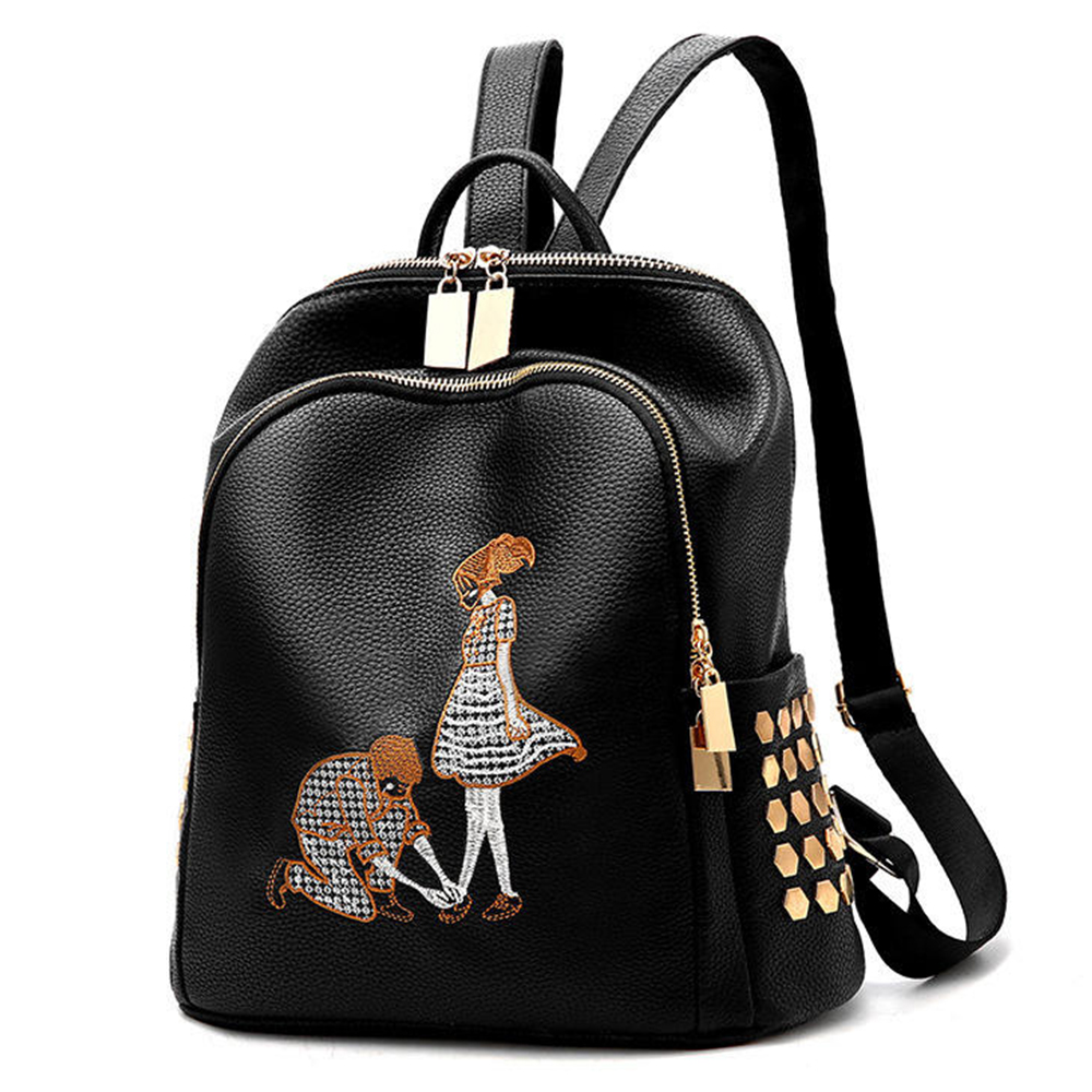121c9e0e85de Best buy Womens Backpack Women s PU leather backpack Girl School shoulder  bag teen girls embroidery Leisure bag online cheap