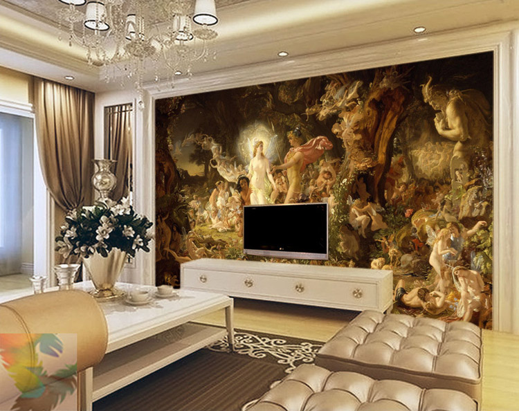 Buy classical oil painting wall murals for 3d wallpaper of bedroom