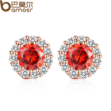 BAMOER 2016 Trendy Gold Plated Red Stones Crystals Girl Stud Earrings with AAA Zircon Earrings Jewelry Party Gift JIE054-RD