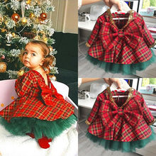 Cute Baby Girls Christmas Suit Clothes  Ball Gown Long Sleeve Red Plaid Bowknot Top+Christmas Tree Tutu Dress 2pcs Set