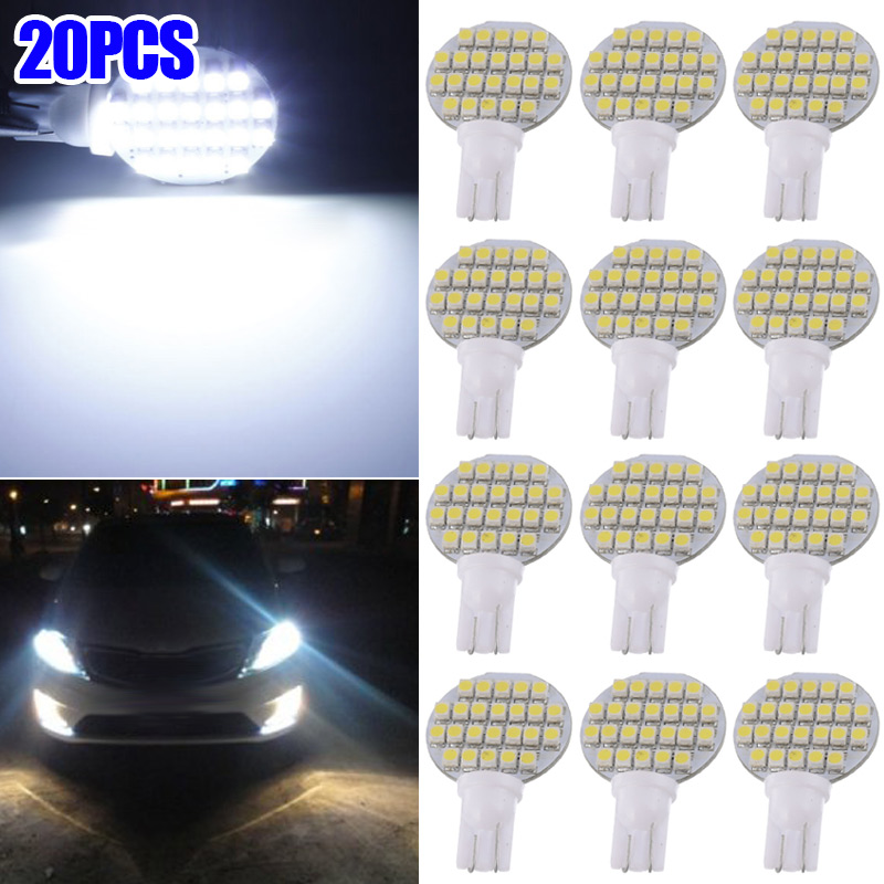 20Pcs Car T10-3528-24SMD LED <font><b>Light</b></font> Bulbs 12V Super Bright 4.8W T10 921 White RV Interior Lamp CSL2017