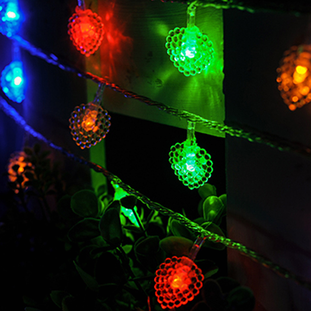 2017 New 10M 70 Led Christmas Tree Lights Heart Shaped Led String Light  Wedding Decoration AC