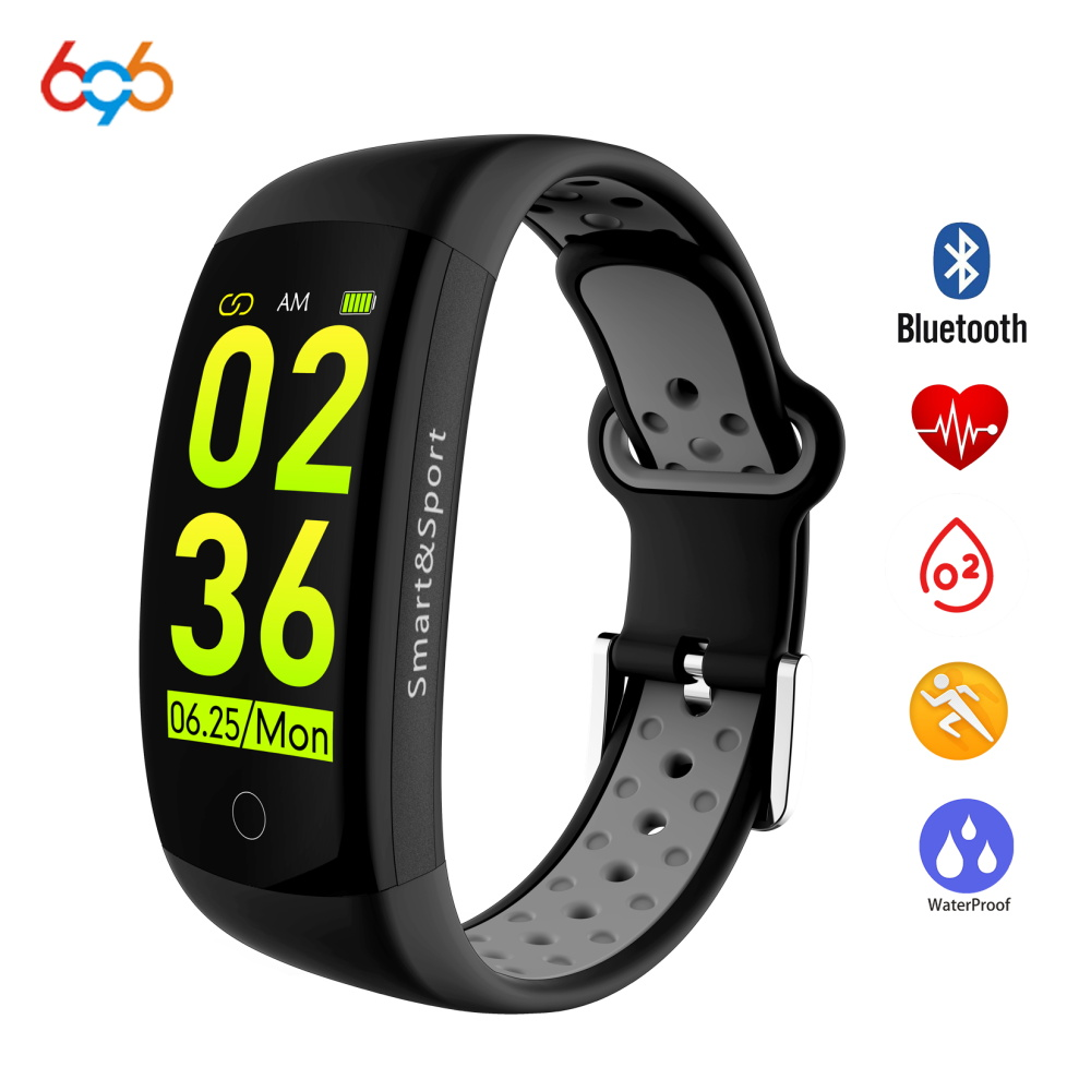 696 Q6S Heart Rate Monitor Fitness Bracelet Smart Wristband Blood Pressure/Oxygen Smart Bracelet Band IP68 Waterproof Watch meanit m5