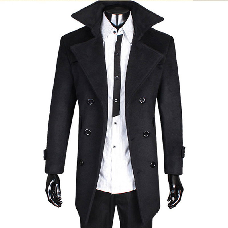 2014 New Men's Long Black Trench Coat Men Double Breasted Trench ...