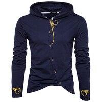 Новое поступление Для мужчин косой застежкой Толстовки Дизайн Для мужчин S модный свитер высокое качество мужской Вышивка пуловер Толстовк...