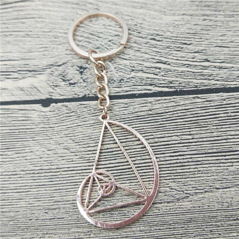 New Spiral với Triangle Key Chains Thời Trang Khoa Học Sinh Học Đồ Trang Sức Fibonacci Tỷ Lệ Tâm Lý Học Keychain Keyring Đối Với Phụ Nữ Người Đàn Ông
