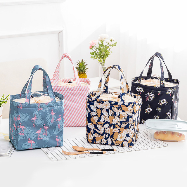 PACGOTH New Fresh Insulation Cold Bales Thermal Oxford Lunch Bag Waterproof Convenient Leisure Bag Cute Flamingo Cuctas Tote 1PC 1