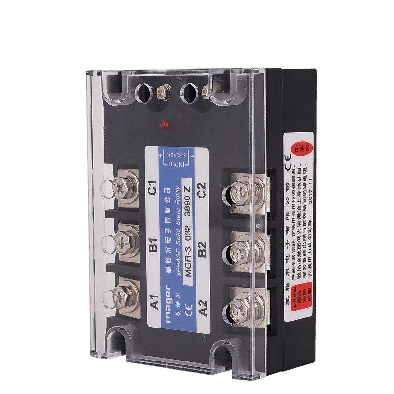 Relais à semi-conducteurs triphasé 90A SSR DC contrôle AC (MGR-3 032 3890 Z) relais à semi-conducteurs 3-32V DC 380V AC avec couvercles de protection