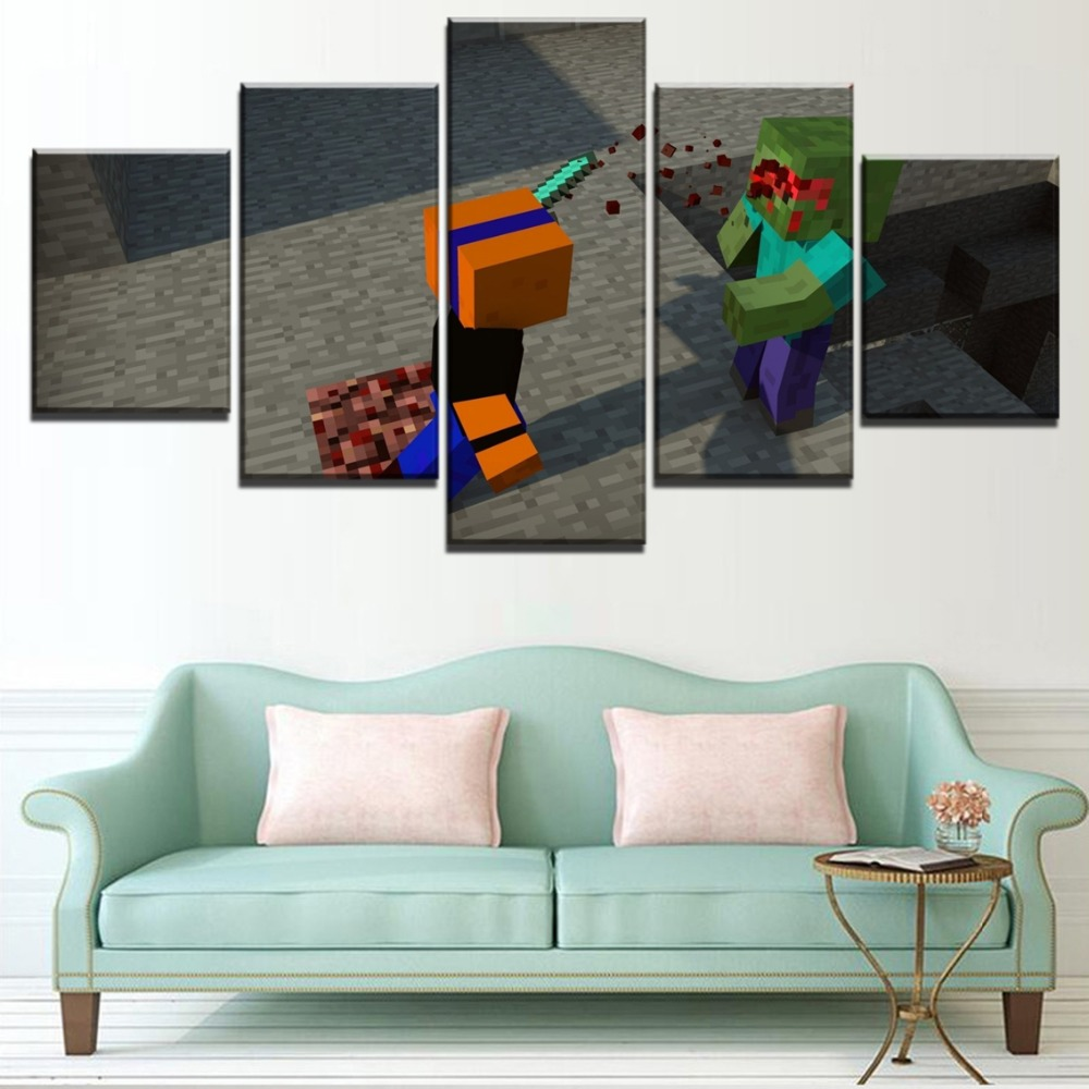 Home Decorative Canvas Wall Art For Living Room 5 Panel Minecraft Zombie Painting HD Prints Game Poster Decor Unique Framework in Painting Calligraphy from Home Garden