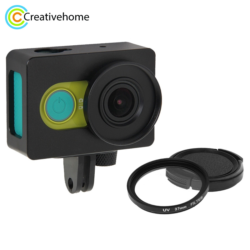 все цены на For Xiao Yi Case Xiaomi xiaoyi Camera Accessories Housing Shell Metal Protective Cage with Mount Adapter + UV Lens Filter онлайн