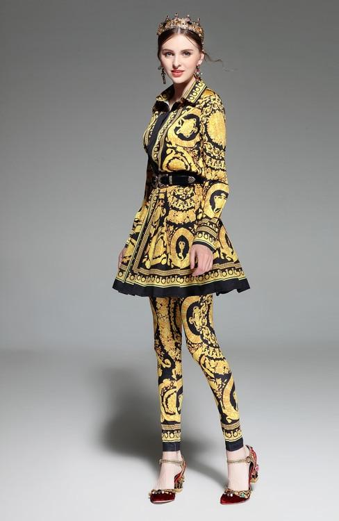Pantalon De Nouvelle As À Longues Slim Plissée Vintage Skrit Pleine Mode Costume Ceintures Femmes Mini Longueur Impression 2018 Pic Set 3 Pièces Haut Arrivée Manches On0wkP