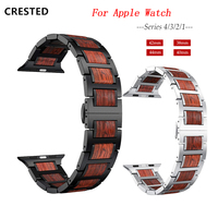 CRESTED apple watch strap for Apple watch 4 3 band 44 mm 38mm iWatch band 42mm Natural Red Sandalwood+Stainless steel watchband