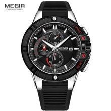 MEGIR Mens Military Sport Chronograph Watches Silicone Army Quartz Wristwatch Relogios Masculino Top Brand 2095 Silver Black