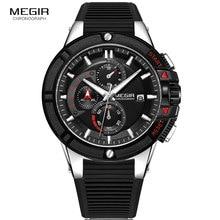 MEGIR relojes deportivos militares para hombre, cronógrafo de silicona, de pulsera de cuarzo del ejército, Masculino, Plata 2095, negro