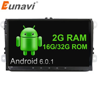 Eunavi 2 Din 9 Inch Quad Core Android 6 Car Dvd GPS For VW Polo Jetta