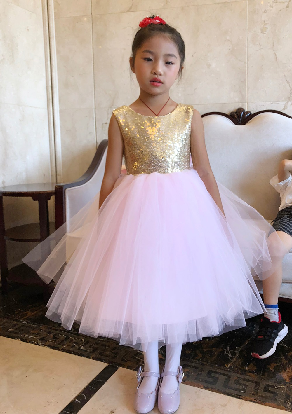 Pink Teen Wedding Dress Sequin Knee Length O-neck Paillette Girls Sequin Dress for Girls Sequin Evening Dress Tutu with Bowknot (1)