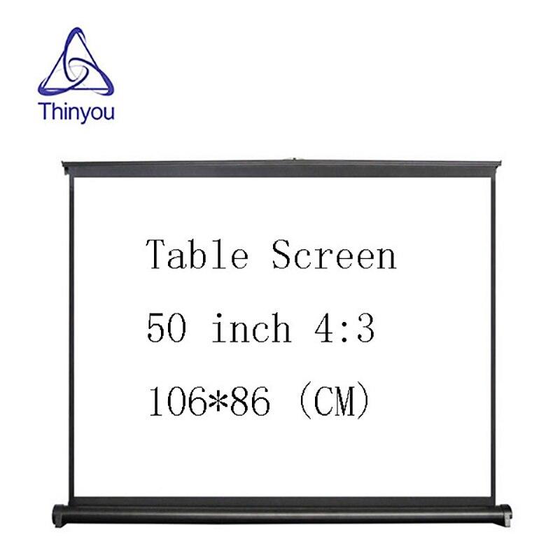 Thinyou 50 pouces 4:3 HD facile à transporter écran de projecteur manuel tirez le type hauteur réglable pour une utilisation pratique de l'hôtel à la maison