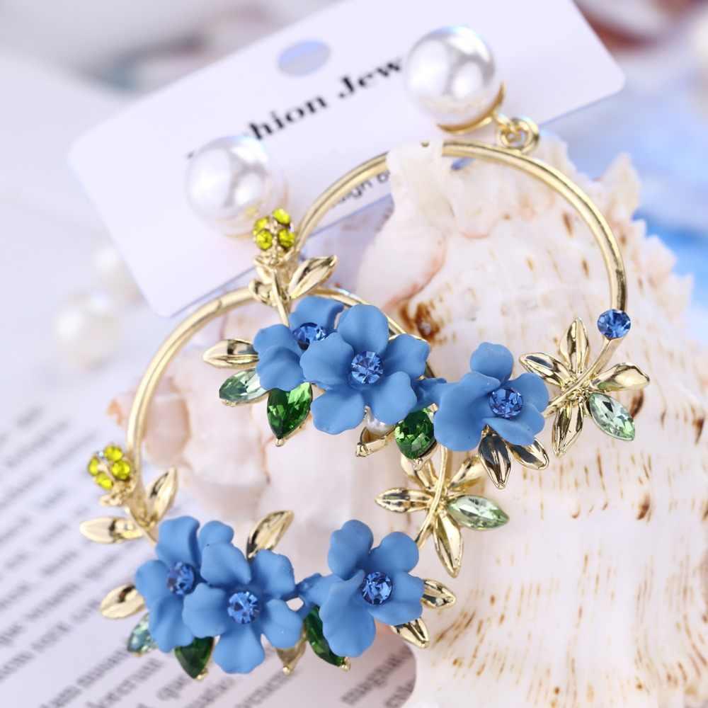 03267b0f0 ... 2018 Korea Polymer Clay Cherry Blossom Flower Big Circle Hoop Earrings  Crystal Simulated Pearl Earrings for ...