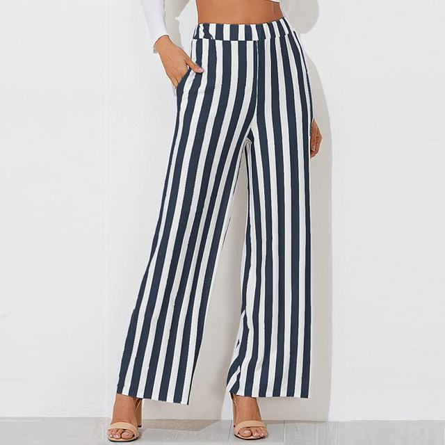Striped Pants Women fashion Clothing High Waist Zipper Fly Trousers 2018 Spring New Casual Carrot Pants Wide Leg