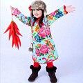 Qipao Un Cuarto Del Bebé Vestido de Niña de Invierno ropa del cabrito Floral Regalo de Año Nuevo Chino Tradicional Cheongsam Ropa