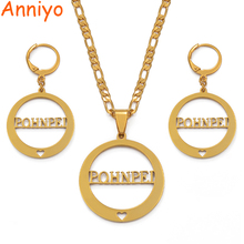 Anniyo POHNPEI Necklace Earrings Jewelry sets for Womens Gold Color Islands Gift (CAN NOT CUSTOMIZE THE NAME) #036121
