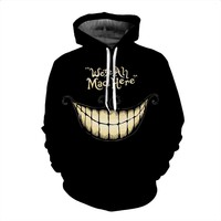 We Re All Mad Here Cheshire Cat Smile 3D Men Women Hoodies Black Color Loose Fitness