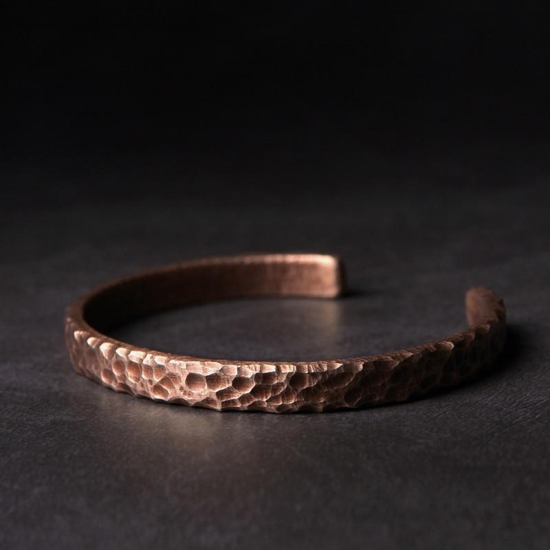 Bracelet rustique Martelé cuivre Viking fait main  1