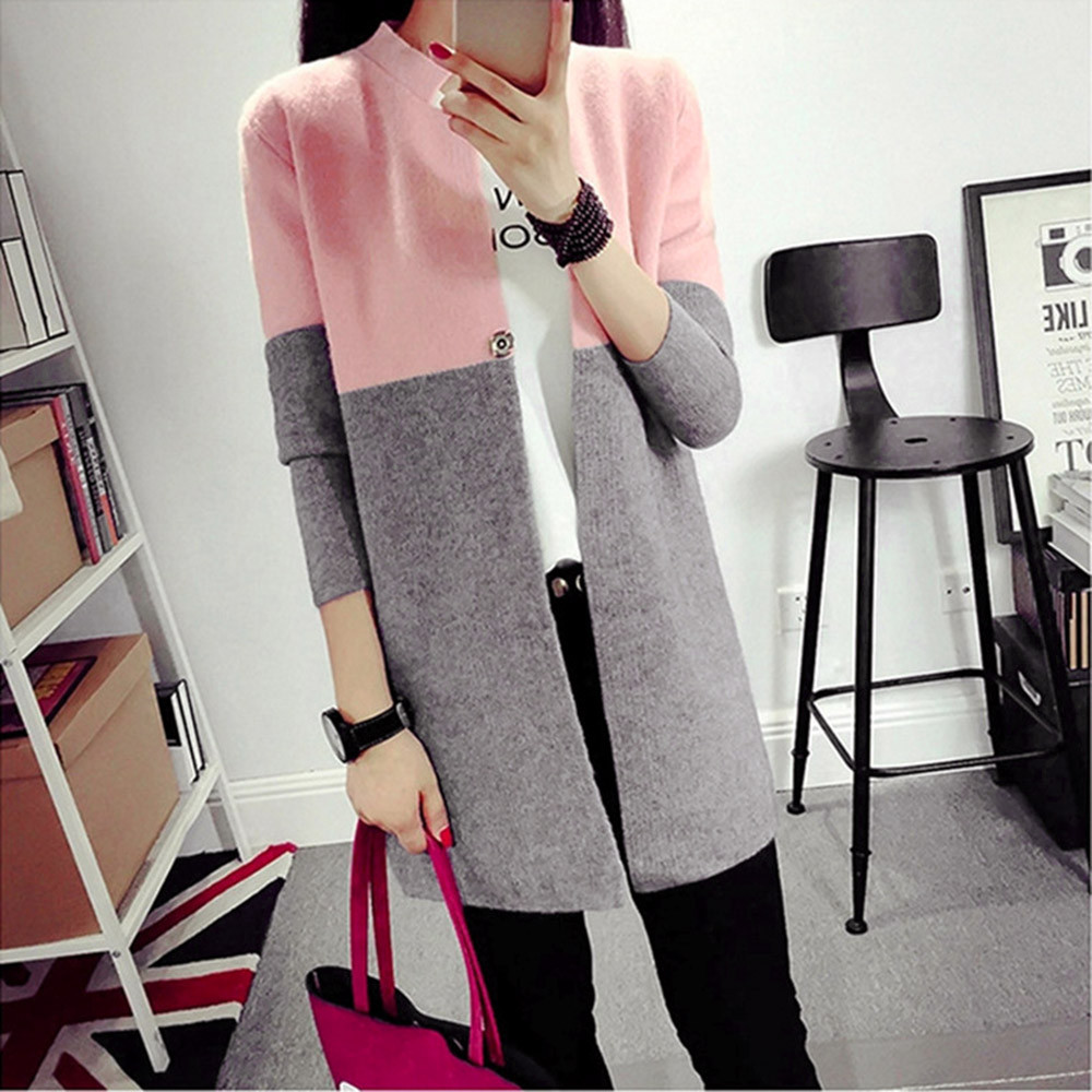Fashion Ladies Warm Coat Outwear Tops Autumn Winter Womens Woolen Coat Girls Korean Slim Long Patchwork Cardigan Jacket Keep