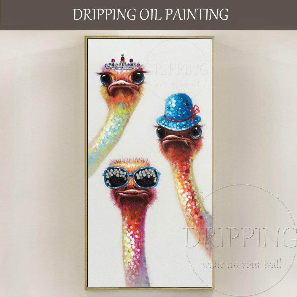 Artiste peint à La Main De Haute Qualité Drôle Animal Autruche Peinture À L'huile pour Décoration Murale Drôle D'autruche Peinture À L'huile pour Salon chambre