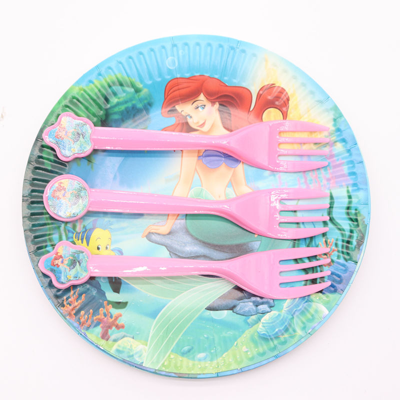 10pcs/lot Little Mermaid Pink Disposable Tableware Supplies Forks Spoons Knives Christmas Birthday Party Decorations Kids