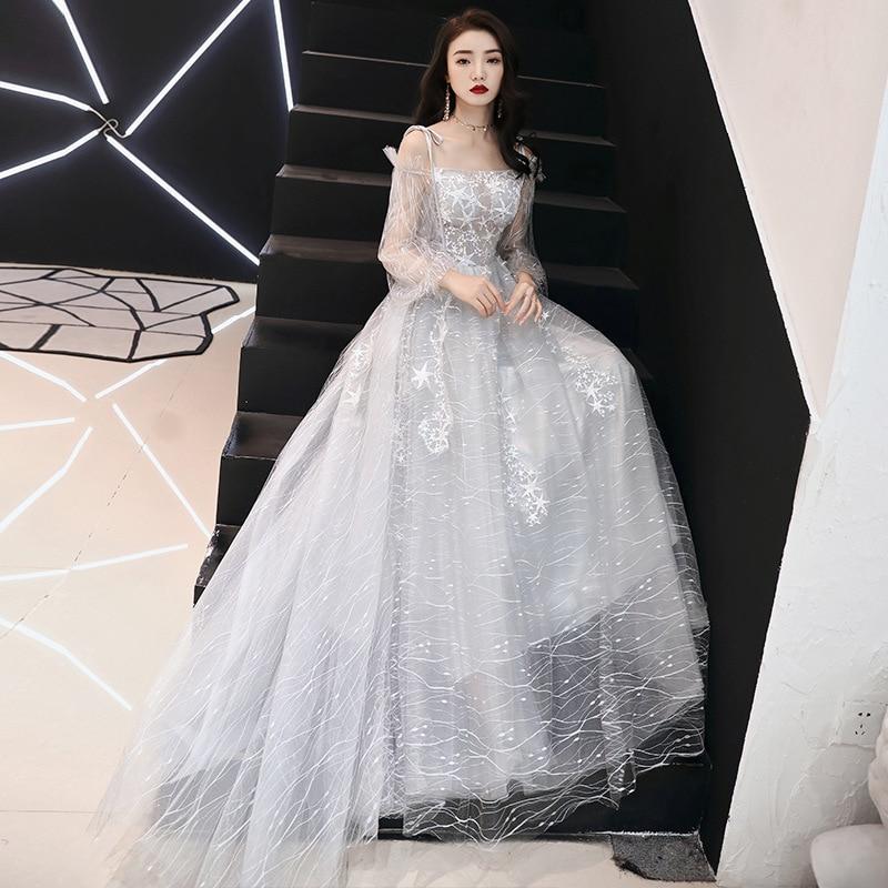 Robes De Gala Champagne bateau cou à manches longues a-ligne robes femmes fête nuit étage longueur grande taille robes De bal E428