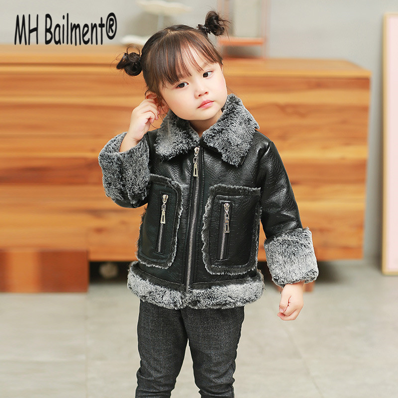 2017 New children Faux Fur Suede Fur Winter Warm Coat Baby Girls Outwear Imitation Fur Locomotive Fashion Green Coat FC-01 faux fur coat