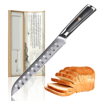 """Sunnecko 8"""" inch Bread Knife Kitchen Knives Cutting Tools 73 Layers Damascus VG10 Steel Sharp High Quality Cake Knife G10 Handle"""