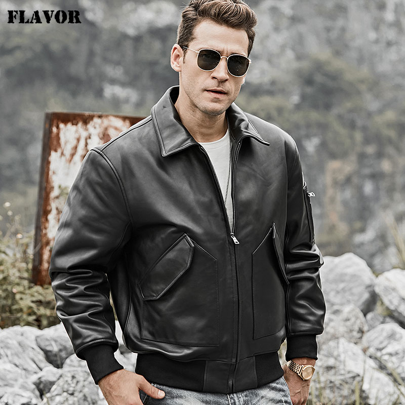 FLAVOR 2018 Men's Real Leather Jacket Bomber Lambskin Winter Warm Air Force Leather Aviator Coat