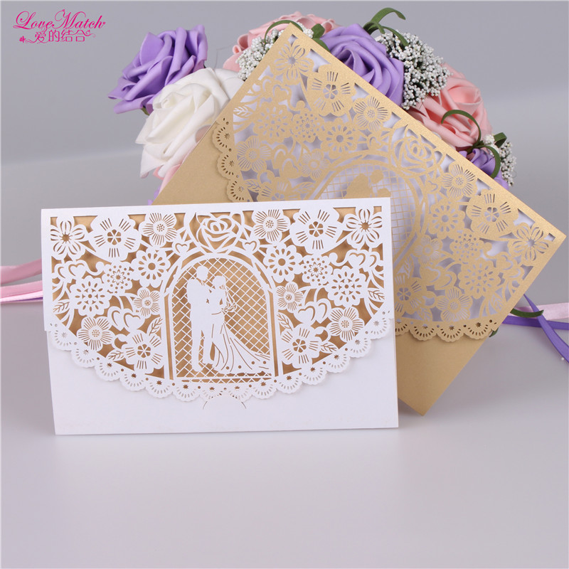 10sets Bride And Groom Wedding invitations Card Wedding Gifts For Guests Pearl Paper Invitation Card Party Favor Wedding Favors