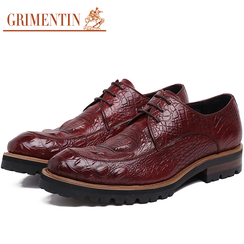 GRIMENTIN Men Dress Shoes Crocodile Pattern Elegant Mens Formal Shoes Leather Classic Designer Suit Shoes For Wedding Party N4 men s dress shoes crocodile pattern british work shoes men s business shoes elegant fashion shoes with suit