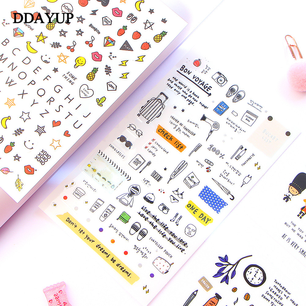 European Style Travel Diary Paper Sticker Decoration Planner Scrapbooking Label Sticker Kawaii Korean Gifts Stationary Stickers